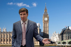Челябинский экс-губернатор Михаил Юревич на фоне британского флага и Биг Бена. Лондон, юревич михаил, биг бен