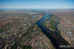 Виды Кызыла. Республика Тыва, вид с высоты, город кызыл, река енисей