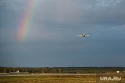 Клипарт по теме Аэропорт. Екатеринбург, самолет, радуга, взлет, пассажирские перевозки