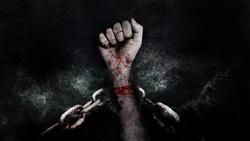 Открытая лицензия на 04.08.2015. Криминал., кровь, убийство, задержанный, цепи, наручники