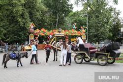 Центральная площадь «Цветной бульвар». Тюмень , лошадь, подростки, парк, парк развлечений, карета, пони, дети, катание на пони
