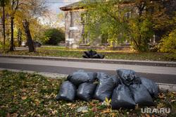 Виды Екатеринбурга, мусор, мусорные пакеты, улица, осень