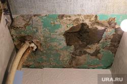 Старые общежития в Кургане, аварийное состояние, штукатурка рушится, потолок промок, протекает потолок
