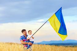 Клипарт depositphotos.com , флаг украины, ребенок на руках