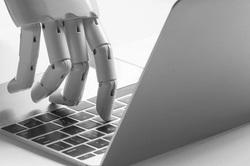 Клипарт. Робот-рекрутер. ПАО «ММК». Екатеринбург , ноутбук, клавиатура, робот