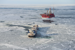 Открытая лицензия на 30.07.2015. Добыча нефти и газа, арктика, нефтедобыча, приразломное, льдины, танкер, нефтяная платформа, михаил ульянов, печорское море