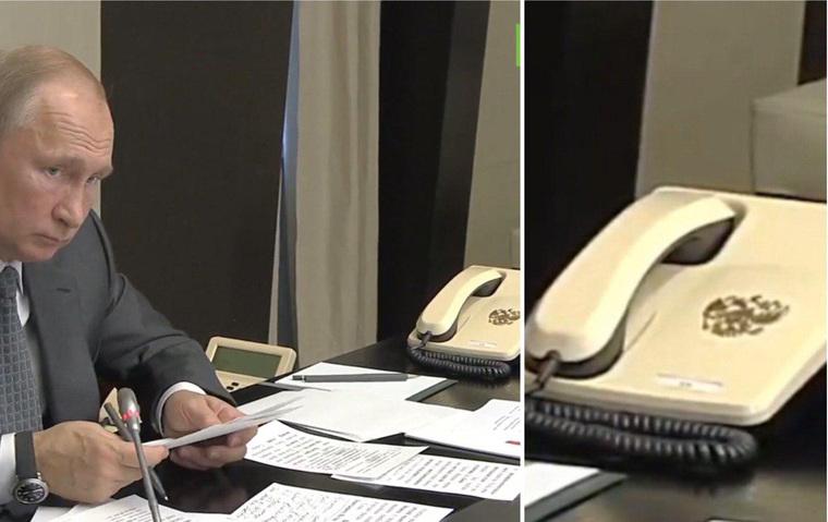 Рабочий телефон президента Путина без кнопок и с гербом