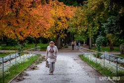 Виды города. Екатеринбург, пенсионерка, дама в шляпе, парк, пожилая женщина, осень