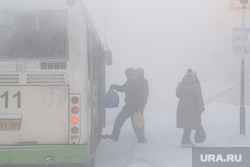 Мороз и ледяной туман. Салехард. 31 января 2019 г, зима, автобус, пассажиры, мороз, туман