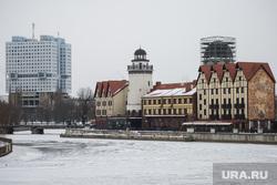 Виды Калининграда , снег, набережная, зима, калининград, дом советов, рыбацкий дворик