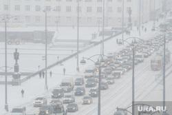 Виды Екатеринбурга, снег, пробка, город екатеринбург, плотинка, снежная погода