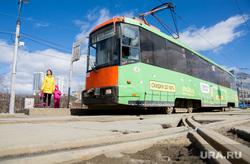 Виды Перми, трамвай, рельсы, общественный транспорт