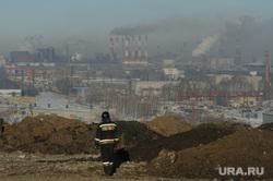 Городская свалка. Экологи исследуют квадрокоптером, пожарные дежурят на случай возгорания. Челябинск, мчс, смог, городская свалка, пожарные