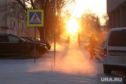 Морозное утро. Курган, зима, утро, солнце, холод, мороз