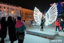 Иллюминация. Курган, праздник, крылья, город курган, новый год, иллюминация, площадь ленина