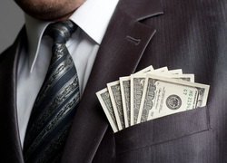 Клипарт depositphotos.com , доллары, бизнесмен, олигарх, деньги в кармане, банкноты, сто долларов