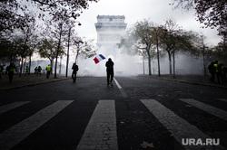 Акция протеста против повышения налога на бензин и дизельное топливо на Елисейских полях. Франция, Париж, акция протеста, париж, триумфальная арка, флаг франции, франция, протест
