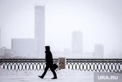 Виды Екатеринбурга, набережная исети, зима, грустный смайлик, туман