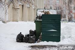 Виды города. Курган, мусор, мусор в мешках, помойка, контейнер для мусора