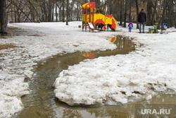 Парк Зеленая роща. Екатеринбург, снег, ручей, детская площадка, межсезонье, тает снег, весна