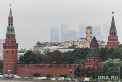 Клипарт. Москва, москва-сити, город москва, кремль, туман