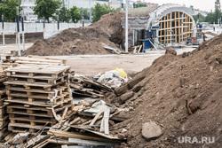 Строительная площадка нового музыкального фонтана на городской эспланаде. Пермь, строительная площадка, стройка