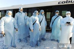 Учения экстренных служб, аэропорта имени Игоря Курчатова. Челябинск, мчс, эпидемия, карантин, медики, ликвидаторы, защитная одежда, коронавирус, защитные халаты