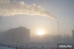 Мороз и ледяной туман. Салехард. 31 января 2019 г, зима, трубы дымят, арктика, мороз, туман