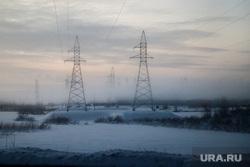 Виды Салехарда, туман, зима, линия электропередач, лэп, электрификация