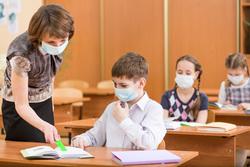 Клипарт depositphotos.com, медицинские маски, ученики, эпидемия, дети в масках, школа