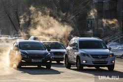 Презентация новой техники МЧС на площади Ленина. Курган, автомобили, холод, дорога авто, машины, выхлопные газы
