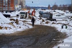 Ремонтные работы на ул. Мальцева. Курган, дорожная техника, грунтовая дорога, ремонтные работы, размытая дорога, ул мальцева
