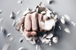 Клипарт depositphotos.com, удар, кулак, злость, кулак в стене
