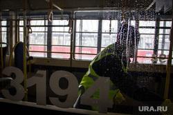 Обработка трамваев хлорсодержащим раствором. Магнитогорск, дезинфекция, обработка, трамвай, коронавирус