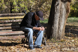 Работы по благоустройству ЦПКиО. Курган, пенсионер, скамейка, пенсия, цпкио, безработица, мужчина, осень