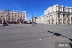 Пустые улицы во время нерабочих дней.  Курган , город курган, ул Гоголя, ул ленина