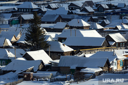 Село Узян – озеро Якты-Куль. Башкортостан, снег, зима, деревня, дома, вид сверху