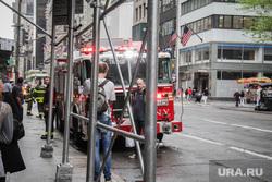 Здание ООН в Нью-Йорке и Иван Некрасов., пожарная машина, нью йорк