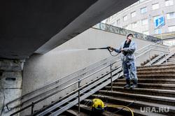 Санитарная обработка подземного перехода. Челябинск, эпидемия