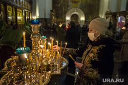 Кафедральный собор Вознесения Господня. Магнитогорск, свечи, храм, церковь, вера, религия, медицинская маска, прихожанка, православие, самоизоляция