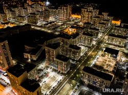 Виды Екатеринбурга, спальный район, жилые дома, ночь, вид сверху, виды екатеринбурга, микрорайон академический