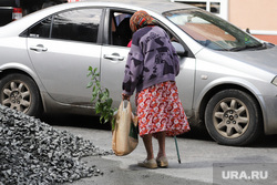 Ремонт тротуаров и крыш. Курган, продукты, пенсионерка, пакет, бабушка