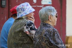 Дети. Пенсионеры. Курган, скамейка, бабушки, пенсионеры на скамейке