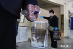 Общероссийское голосование по поправкам в Конституцию России. Курган , перчатки, медицинская маска, резиновые перчатки, голосование, поправки в конституцию, общероссийское голосование, участок голосования
