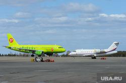 Аэропорт Челябинск, взлетная полоса, S7, впп, самолет