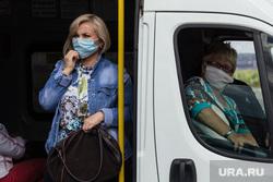 Клипарт. Магнитогорск, медицинские маски, пассажиры, маршрутка