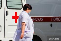 Территория БСМП. Курган, скорая медицинская помощь, фельдшер, машина скорой помощи, коронавирус
