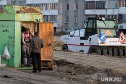 Строительство дороги по ул. Бурова-Петрова. Курган, строительная техника, строительные вагончики