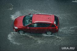 Ливень в Челябинске, авто, ливень, красная машина, дождь