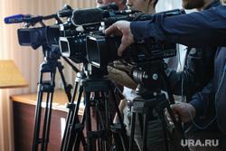 Пресс-конференция по плановому отключению воды на Арбинских очистных  сооружениях. Курган, пресса, сми, видеокамера, прессасми, микрофоны